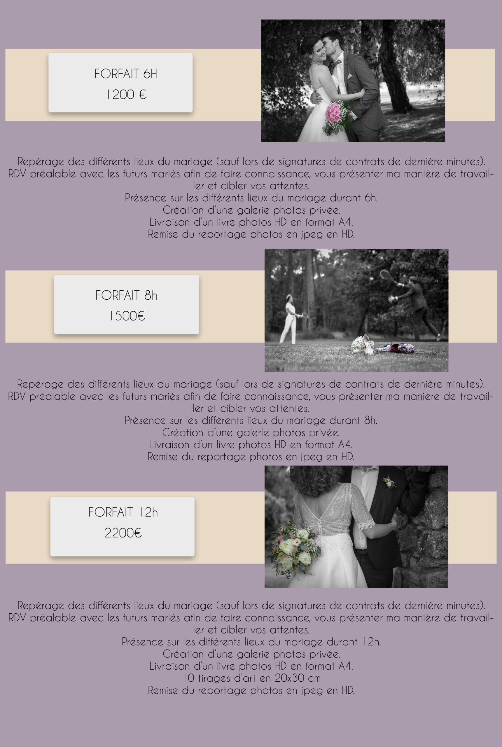 Guide tarifaire mariage 2021